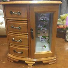 Vintage Music  Jewelry Box Cabinet Wood Chest Glass Window Armoire Organizer