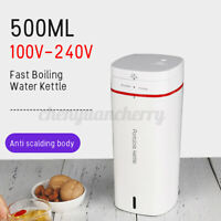 500ML Portable Electric Kettle Boiling Water Stainless Steel Pot Travel 300W CN