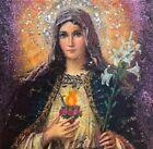 Immaculate Heart Of Mary 4 x 4 Saint, Icon, Original, Angel, Antanenka