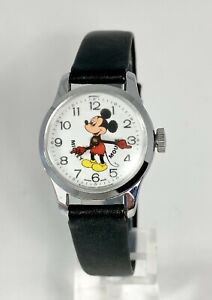 VINTAGE MICKEY MOUSE BY BRADLEY SWISS MADE 1960's WIND-UP WATCH~RUNS KEEPS TIME!