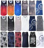 Mens Crosshatch Firetrap Duke Vest Sleeveless Muscle T shirt Polo Tank Top Gym