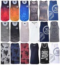 Mens Crosshatch Firetrap Duke Vest Sleeveless Muscle T shirt Polo Tank Top Gym