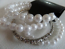 3 ROW STRETCH PEARL STYLE BEAD & SINGLE ROW DIAMANTE BRACELET new gift pouch