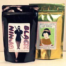 Matcha Green Tea Latte Powder 8oz bag + Black Ninja Tea Latte Powder 8oz bag Set