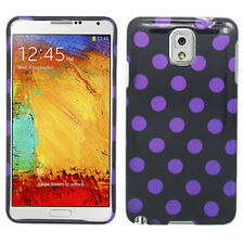 For Samsung Galaxy Note 3 HARD Protector Case Pone Cover Black Purple Polka Dots