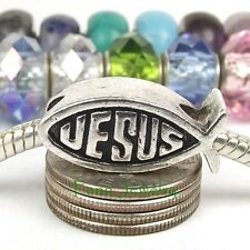 Jesus Fish Lchthus Christian Bead Large Hole Bead for European Charm Bracelet