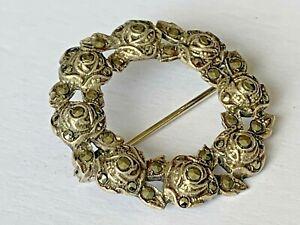 Vintage 1957 Solid Silver Marcasite Round Flower Pin Brooch Ladies 50s Jewellery