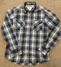 Magnifique Tommy Hilfiger Denim Carreaux Bleu Presse Stud Shirt M Medium Cost £ 90