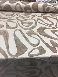 Kaleidoscope Abstract Chenille Brown Cream Upholstery Fabric by the yard