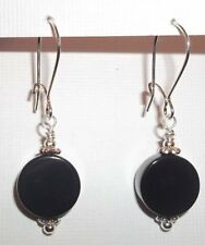 10mm Black Onyx Coin & Sterling Silver Plated Leverback Earrings * Sundance Arti