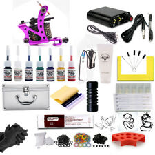 Beginner Complete Tattoo Kit Machine Pedal Power Supply Ink Needle Grips Tip Box