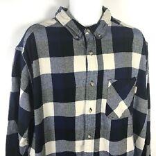 Woolrich Mens XL Buffalo Plaid Flannel Shirt Lumberjack Blue White Button Front