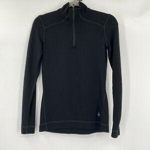 Smartwool Merino 250 Base Layer 1/4 Zip Athletic Long Sleeve Top Black Sz Small