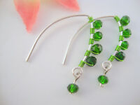 GREEN Crystal Silver Marquise Dangle Earrings Green Wire ARTISAN USA HANDMADE