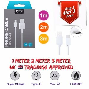 1m 2m 3m Long Fast Charge Type C USB-C Data Sync Charger Charging Cable Lead
