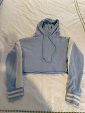 LA Hearts womens light blue cropped sweatshirt hoodie, white trim ,size S