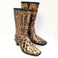 Dav Women's Brown Leopard Design High Heel Zip Sides Rubber Rain Boots | Size L