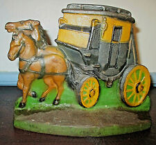 """Ca 1930 Cast Iron Stage Coach Doorstop Orig Paint 6-1/2""""H x 8-1/2""""W Pat Appd For"""