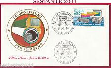 ITALIA FDC ROMA LUXOR 326 a LAVORO ITALIANO MONDO OLIVETTI 1986 RIMINI FO Y361