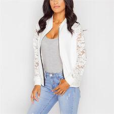 Womens Biker Celebrity Zip Up Coat Lace Long Sleeve Bomber Jacket Ladies Outwear