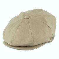 Linen Flat Cap 8 Panel Newsboy Baker Boy Gatsby Peaky Blinders 1920s Style Hat