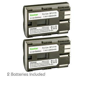 Kastar 2 Pack BP-511 BP-511A Battery for Canon EOS 40D 50D 5D 20Da BP-512 BP522