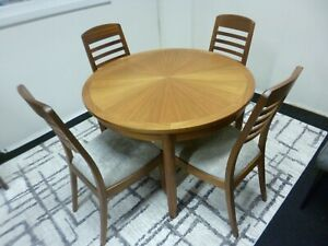 New Nathan Shades Sunburst Teak Round Extending Dining Table & 4 Chairs RRP 2977