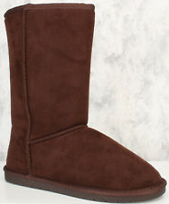 Stitched Warm Comfy Mid Calf Faux Suede Inside Fur Round Closed Toe Flats Boots