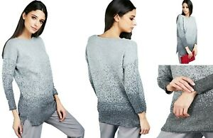 Ladies LUREX Shimmer Knit Grey Ombre Jumper Size UK 8-10 Perfect for Christmas