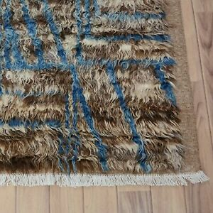 Thick Plush Beige/Brown/Blue 6'x8' Shaggy Moroccan Area Rug Nomad-Weave Tribal
