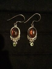 Hook Earrings Marked Fc And 925 Vintage Sterling Silver 925 Amber And Peridot