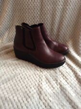 heavenly feet Ladies Ankle Boots Faux Leather Wedge Heel Size 7