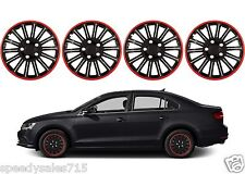 "Pilot Automotive Spyder 16"" Black/Red Custom Hub Caps Wheel New Free Shipping"