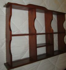 "8-Tier Wall Display Shelves Solid Cherry Wood 25"" Wide x 19"" H. w/Plate Grooves"