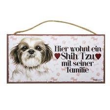 Holzschild Hundeschild 25 cm x 12,5 cm Hund Schild innen Deko Shih Tzu