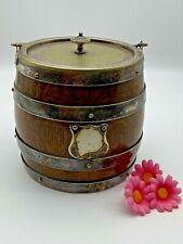 More details for antique oak silver metal buisquit barrel ceramic inlaid c 1920