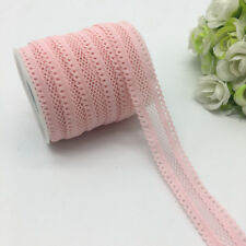 "5yards 5/8""16mm Bilateral Lace Grid Fold Over Elastic Spandex Lace Band Pink"
