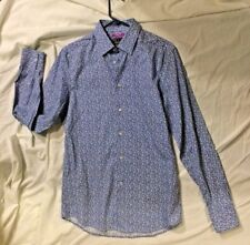 H&M Premium Cotton Men Blue liberty art fabrics Button Up Long Sleeve Shirt S