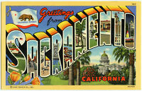 Greetings From SACRAMENTO California BIG Letter Linen Postcard  Lithograph (b