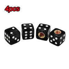 4pcs Black Dice Cube Car Tire Air Valve Stem Caps Wheel Rims ABS Copper Core