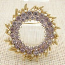 BSK Pink Rhinestone Faux Pearl Large Wreath Vintage Pin Brooch Gold Tone