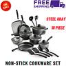 Primaware 18 Piece Non-Stick Cookware Set,Steel Gray,Kitchen Home,Pots &Pans Set
