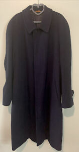 Vintage St.Michael Marks & Spencer Mens Long Navy Coat Made in Italy