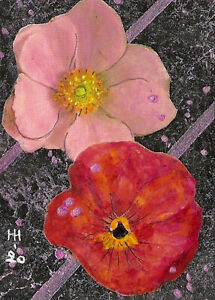 """*YEARLY SALE* ACEO """"Floral Elegance"""" Original Collage Painting, Hélène Howse"""