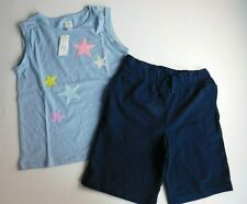 NWT Gap/The Place Girl's 2 Pc Outfit Flip Sequins Top Blue Stars/Terry Shorts
