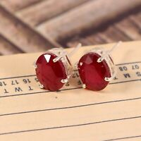 Natural Red Ruby Studs Earrings Dainty Minimalist Statement 925 Sterling Silver