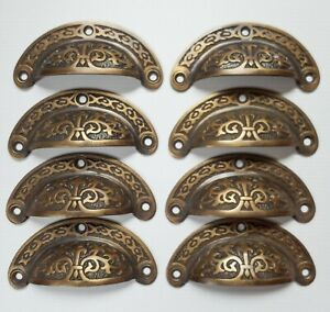 """8 x Antique vtg. Style Victorian Brass Apothecary Bin Pulls Handles 3"""" cntr. #A5"""
