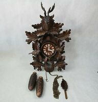 Vintage German Black Forest Cuckoo Clock E. Schmeckenbecher Carved 625HS / 8