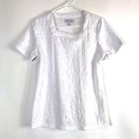 Women's Kim Rogers Embossed Design Square Neck White With Short Sleeve Blouse S