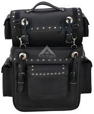 Grand Voyager Black Studded Motorcycle Motorbike Luggage Sissy Saddle Bag SB 1